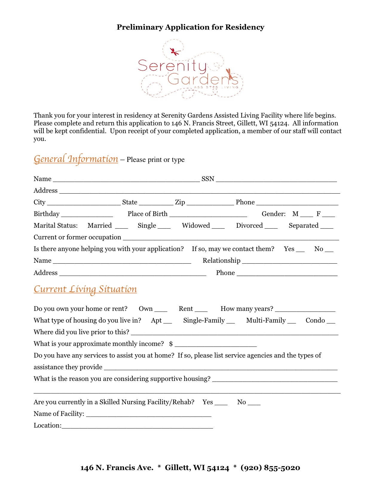 Serenity Gardens Assisted Living Facility Residency Application